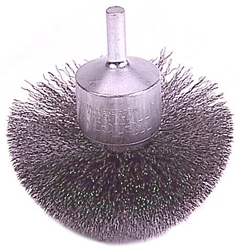 "Weiler #10041  3"" CIRCULAR FLARED CRIMPED WIRE END BRUSH, .008"" STEEL FILL"