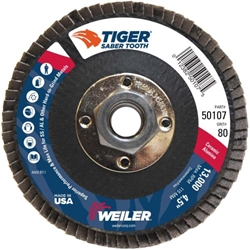 "Saber Tooth #50107    4-1/2"" TIGER CERAMIC ABRASIVE FLAP DISC, CONICAL (TY29), PHENOLIC BACK,80C, 5/8""-11 UNC NUT Flap Disc, Grinding, Abrasive, Weiler"