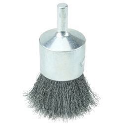 "Weiler #10009 1"" CRIMPED WIRE END BRUSH, .006"" STEEL FILL"