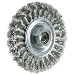 "ITEM # 13113 STANDARD TWIST KNOT WIRE WHEEL 4"", .014"" STAINLESS STEEL FILL, 5/8""-11 UNC NUT"